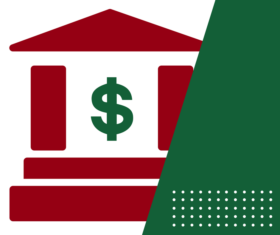 Red building with dollar sign in it behind green object icon